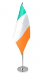 Ireland Desk / Table Flag with chrome stand and base.